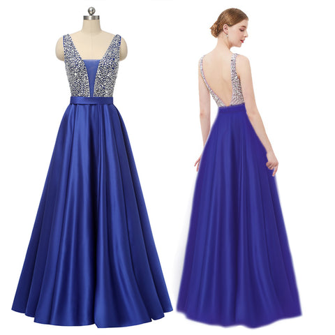 Navy Long Prom Dress 2019