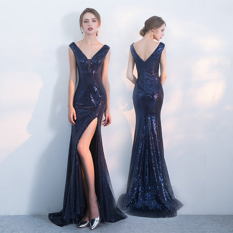 Navy Mermaid Prom Dress