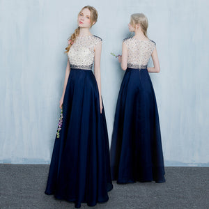 Navy O-neck Prom Dress