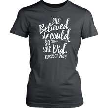 Load image into Gallery viewer, She Believed She Could So She Did - Class of 2019 Tshirt - Charcoal