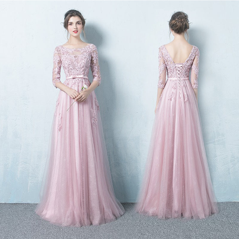 Pink A-line Long Prom Dress