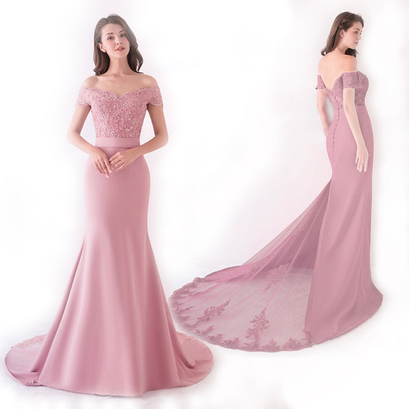 Pink Cap Sleeve Prom Dress