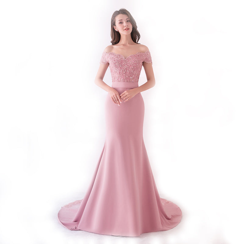Pink Cap Sleeve Long Prom Dress