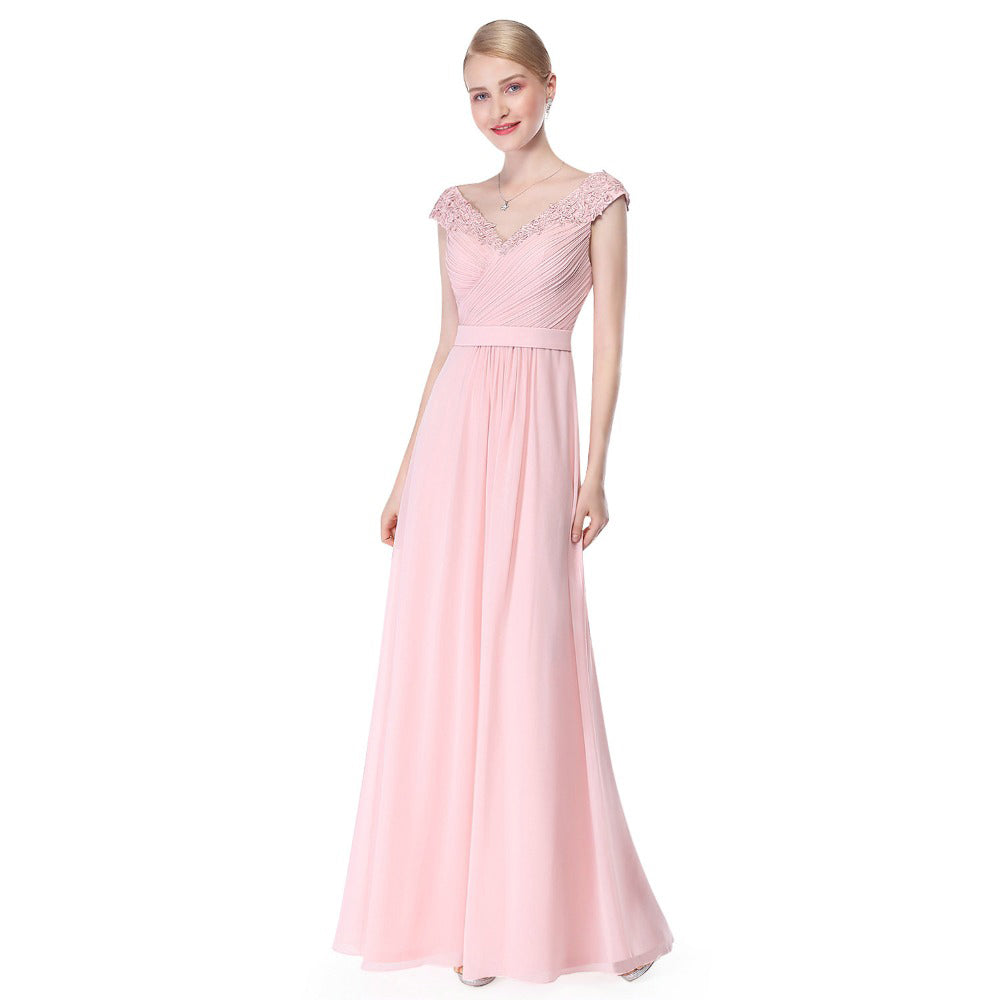Beautiful Elegant Sexy Deep V neck Prom Dress-Pink prom dresses