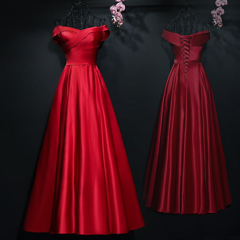 Red A-line Long Prom Dress