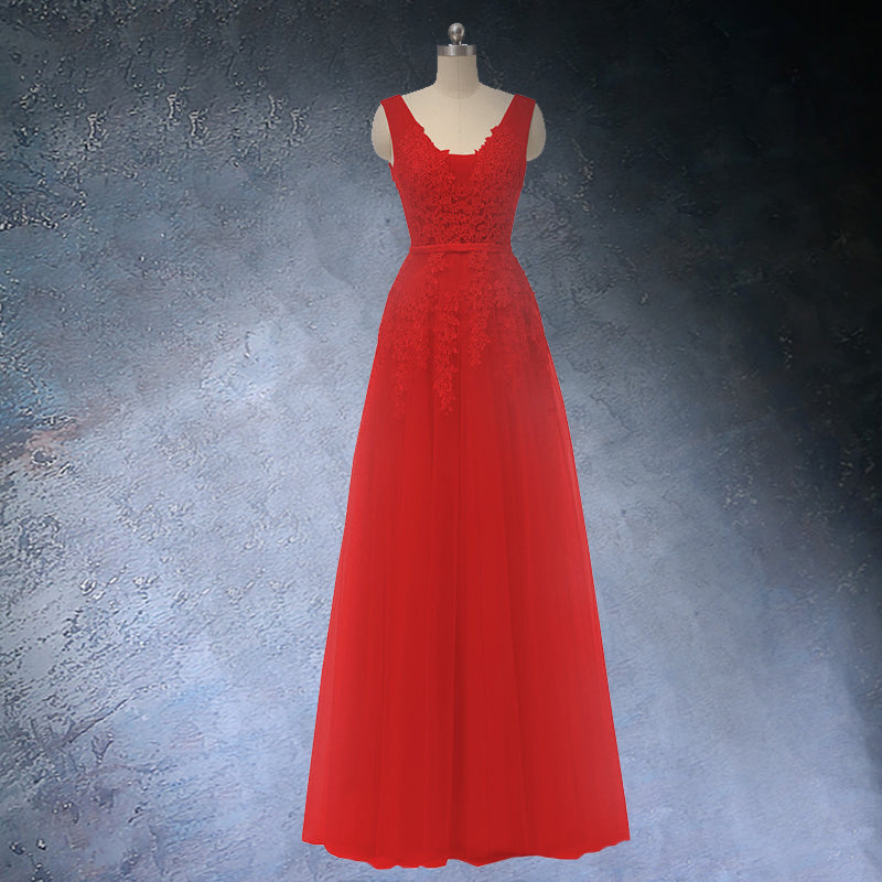 Red A-line Prom dress