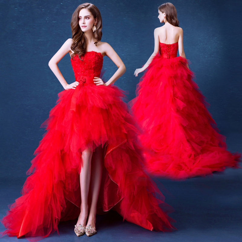 Red Asymmetrical Long Prom Dress