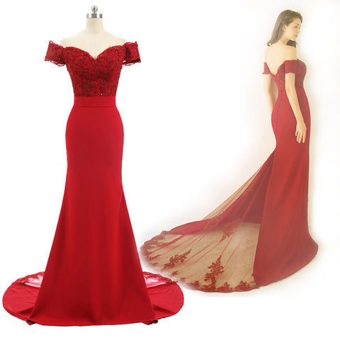 Red Cap Sleeve Prom Dress