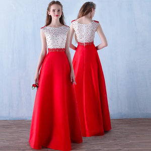 Red O-neck Long Prom Dress