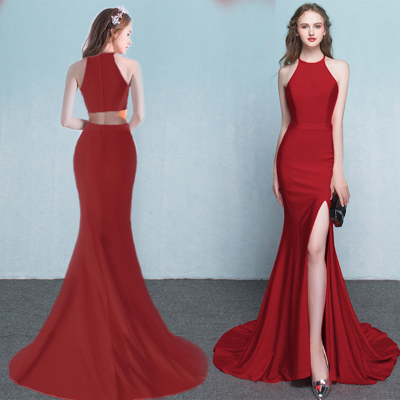 Red Side Slit Prom Dress