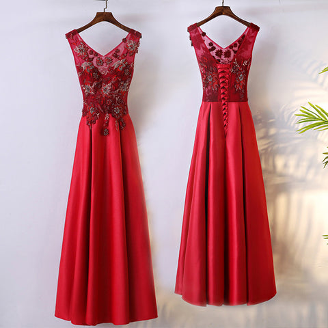 Red V-Neck Prom Dress