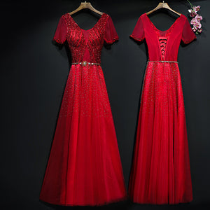 Red V-Neck Short Sleeve Prom Dress
