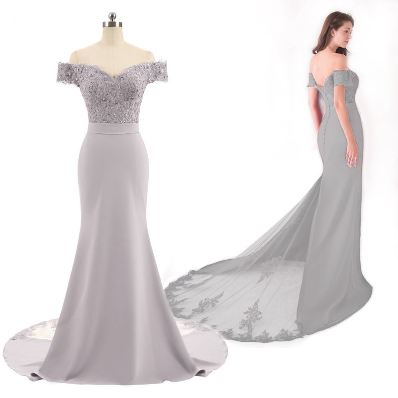 Silver Long Prom Dress