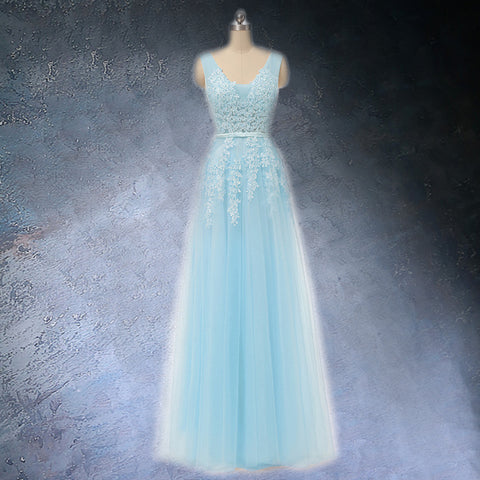 Sky Blue V-neck Prom dress