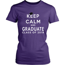 Load image into Gallery viewer, Keep Calm And Graduate - Women's Shirt Class Of 2019 - Purple