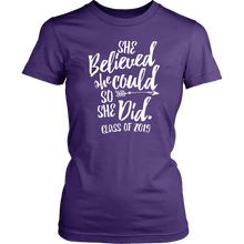 Load image into Gallery viewer, She Believed She Could So She Did - Class of 2019 Tshirt - Purple