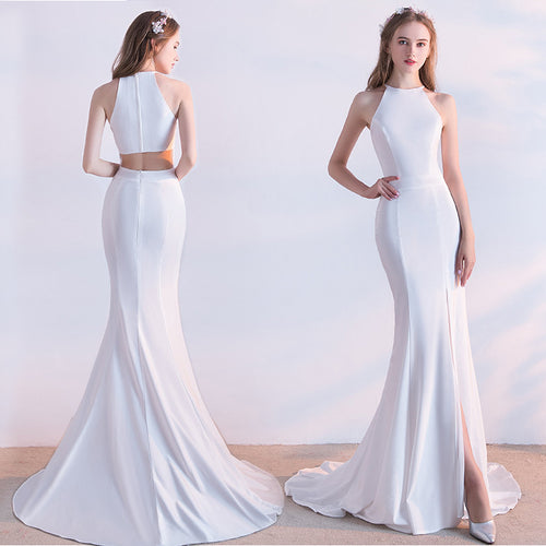 White Side Slit Prom Dress