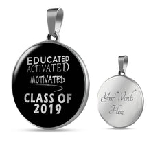 Load image into Gallery viewer, Educated Activated Motivated - Personalized Graduation Necklaces 2019