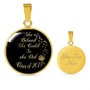 She Believed She Could So She Did - 2019 Custom Graduation Necklaces