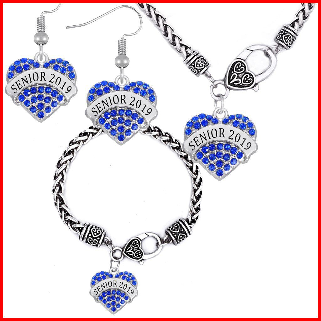 Heart Shaped Class Of 2019 Jewelry Set - Blue Color