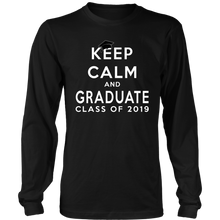 Load image into Gallery viewer, Keep Calm And Graduate - Class Of 19 Long Sleeve Shirt - Black
