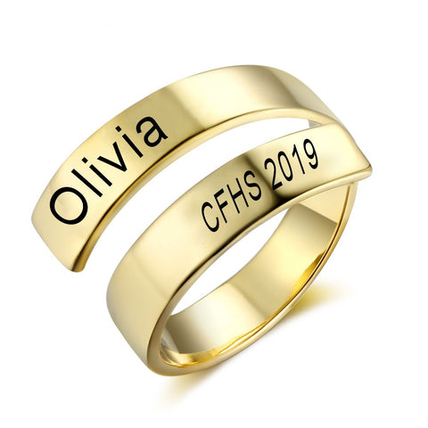 College Class Rings - Gold Color Adjustable Ring