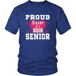 Proud Sister of 2018 Senior - Class of 2018 shirts - Blue