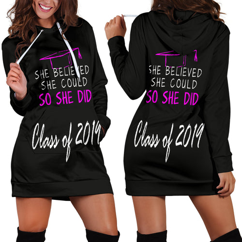 She Believed She Could So She Did - Black Women's Hoodie Dress