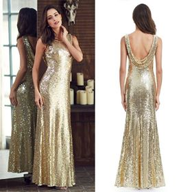 Gold Long-Prom dresses