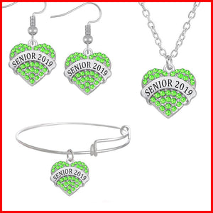 Heart Shaped Class Of 2019 Jewelry Set - Green Color