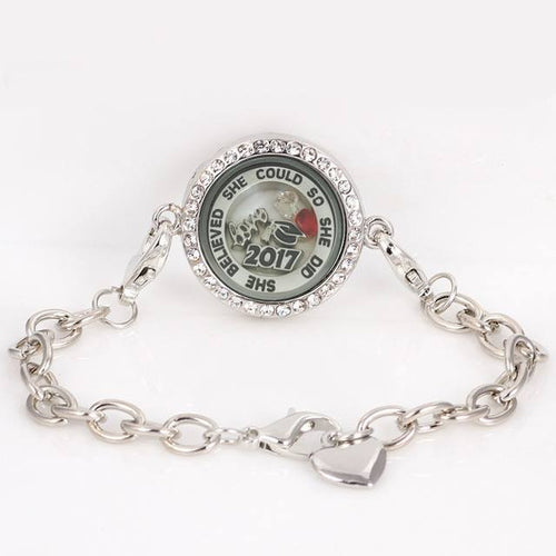 She believed she could Graduation 2017 memory locket stainless steel bracelet - My Class Shop