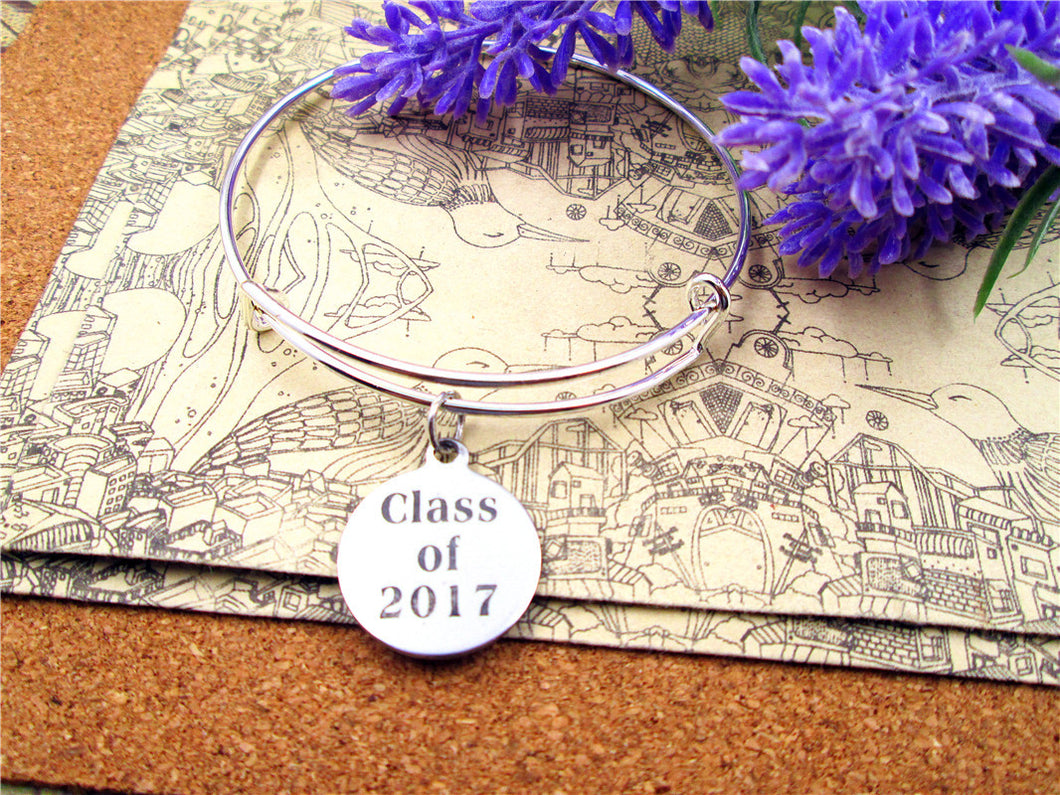 Stainless Steel Circle Class of 2017 Bracelet - My Class Shop