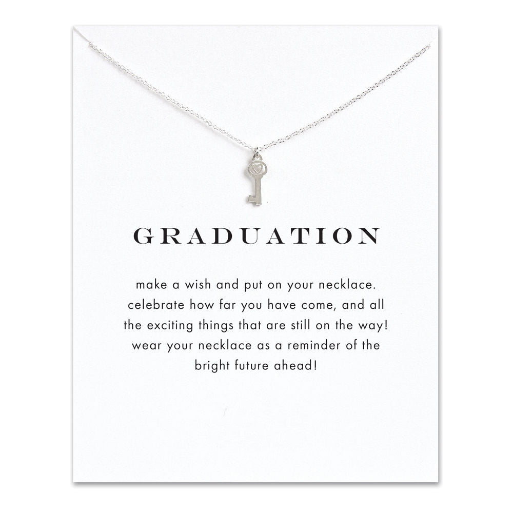 Graduation Heart Key Necklace Silver-Graduation wishes - My Class Shop