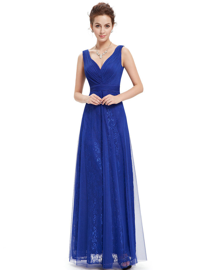 Blue V-neck Ruched Prom Dress-prom dresses near me.