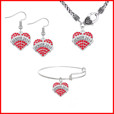 Heart Shaped Class Of 2019 Jewelry Set - Red Color