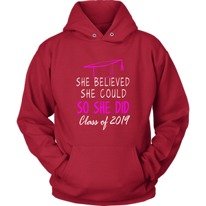 She Believed She Could - Class of 2019 Hoodie - Red