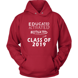 Educated Activated Motivated - Class of 2019 hoodie - Red