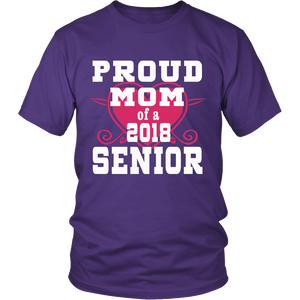 Proud Mom of 2018 Senior- Graduation Shirts For Family-Purple