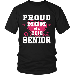 Proud Mom of 2018 Senior- Graduation Shirts For Family - Black
