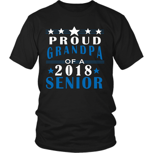 Proud Grandpa of a 2018 Senior- Graduation T-shirts For Parents - black color