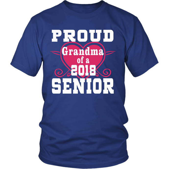Proud Grandma of 2018 Senior- Graduation t-shirts for family - Blue