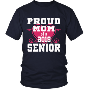 Proud Mom of 2018 Senior- Graduation Shirts For Family Navy