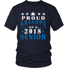 Load image into Gallery viewer, Proud Grandpa of a 2018 Senior- Graduation T-shirts For Parents navy color