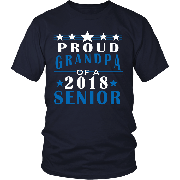 Proud Grandpa of a 2018 Senior- Graduation T-shirts For Parents navy color