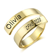 Load image into Gallery viewer, College Class Rings - Gold Color Adjustable Ring MCS102973
