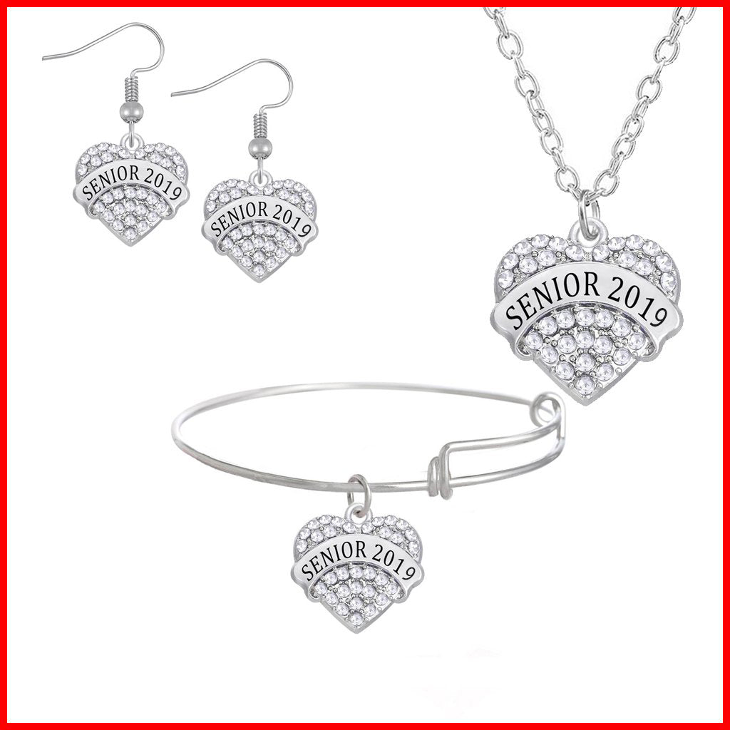 Heart Shaped Class Of 2019 Jewelry Set