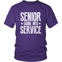 Load image into Gallery viewer, Senior Going Into Service - Class of 2019 T-shirt - Purple