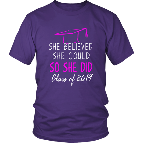 She Believed She Could - Class of 2019 T-shirt - Purple