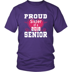 Proud Sister of 2018 Senior - Class of 2018 shirts - Purple