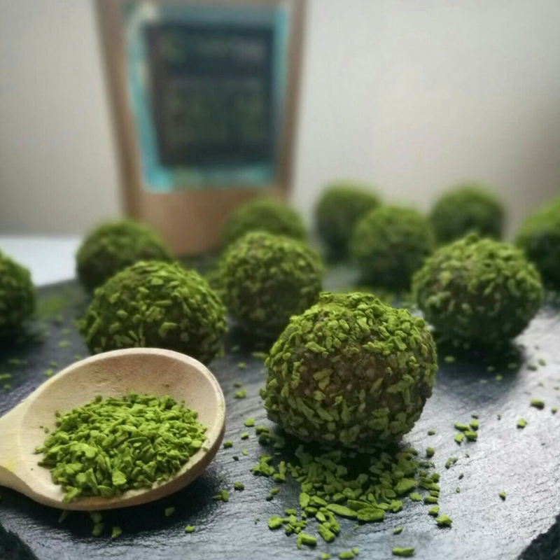 Matcha, cocoa and hazelnut bliss balls